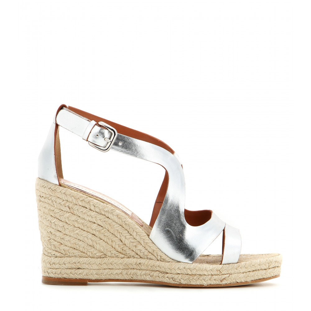 f5c19cfbd7c0 Lyst - Stella McCartney Metallic Faux Leather Wedge Sandals in Metallic