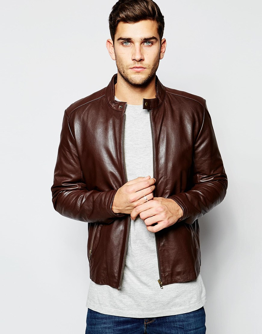 Asos Leather Racing Biker Jacket In Brown in Brown for Men | Lyst