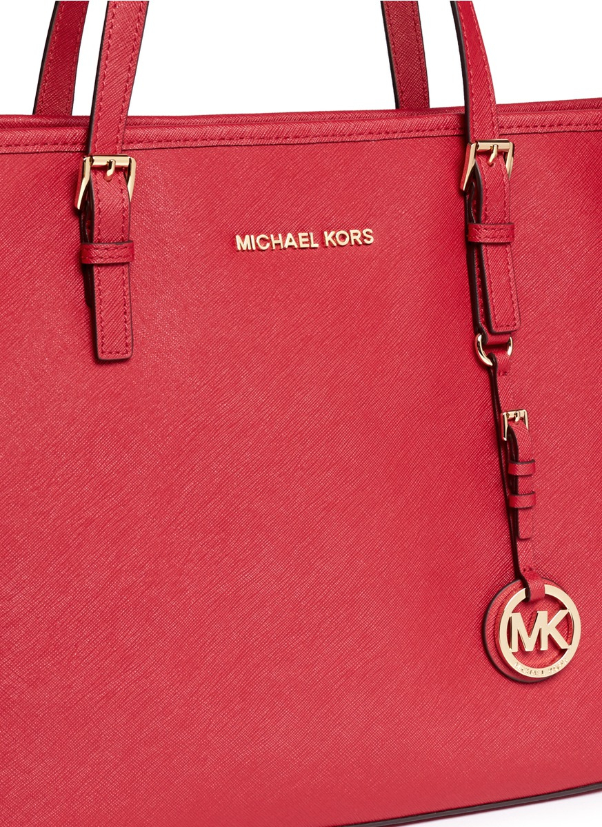 16b254243946 Michael Kors 'jet Set Travel' Saffiano Leather Top Zip Tote in Red ...