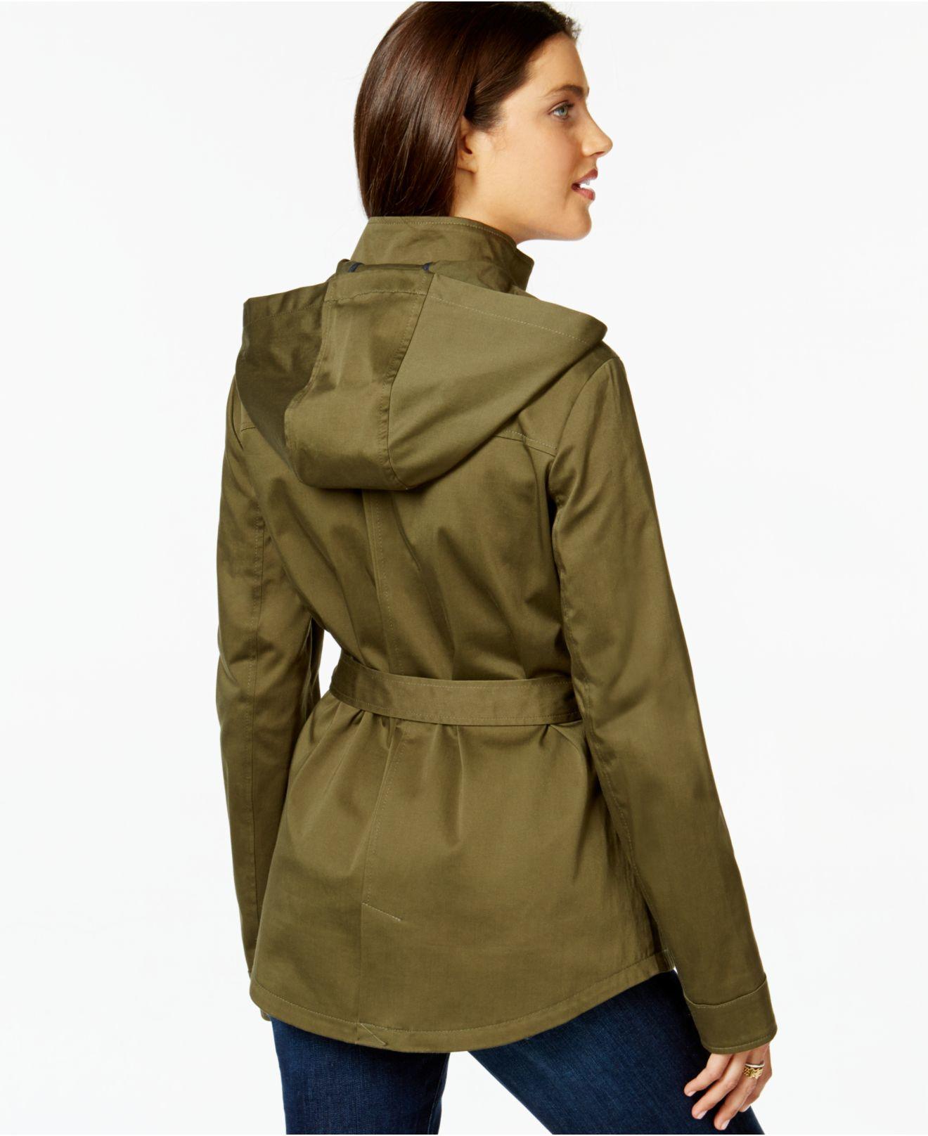 tommy hilfiger sateen utility jacket in green lyst. Black Bedroom Furniture Sets. Home Design Ideas
