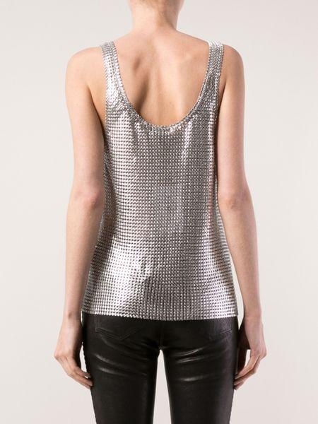 Silver Metallic Top Rabanne Mesh Top in Silver