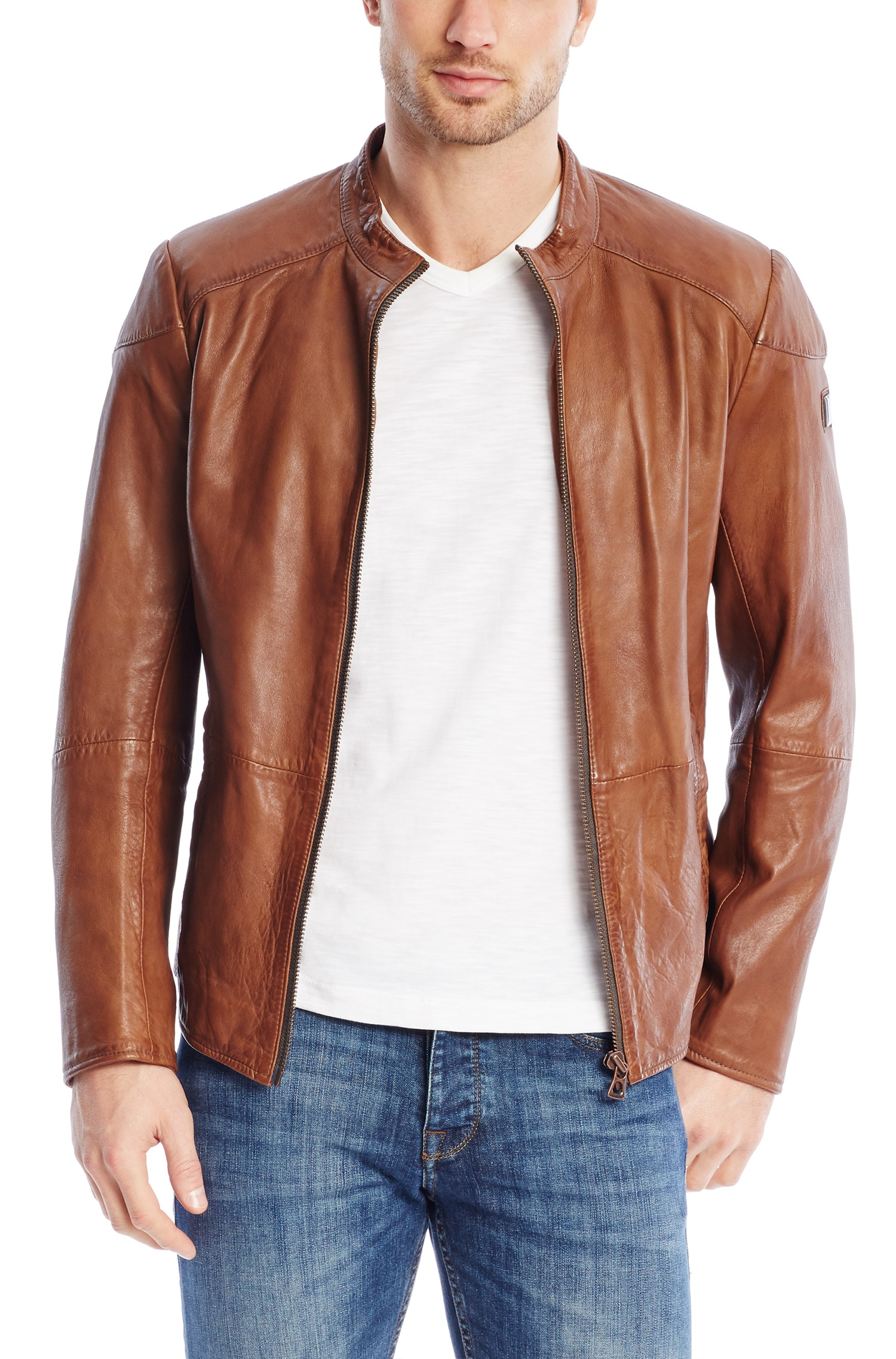 jacket orange men boss leather Hugo