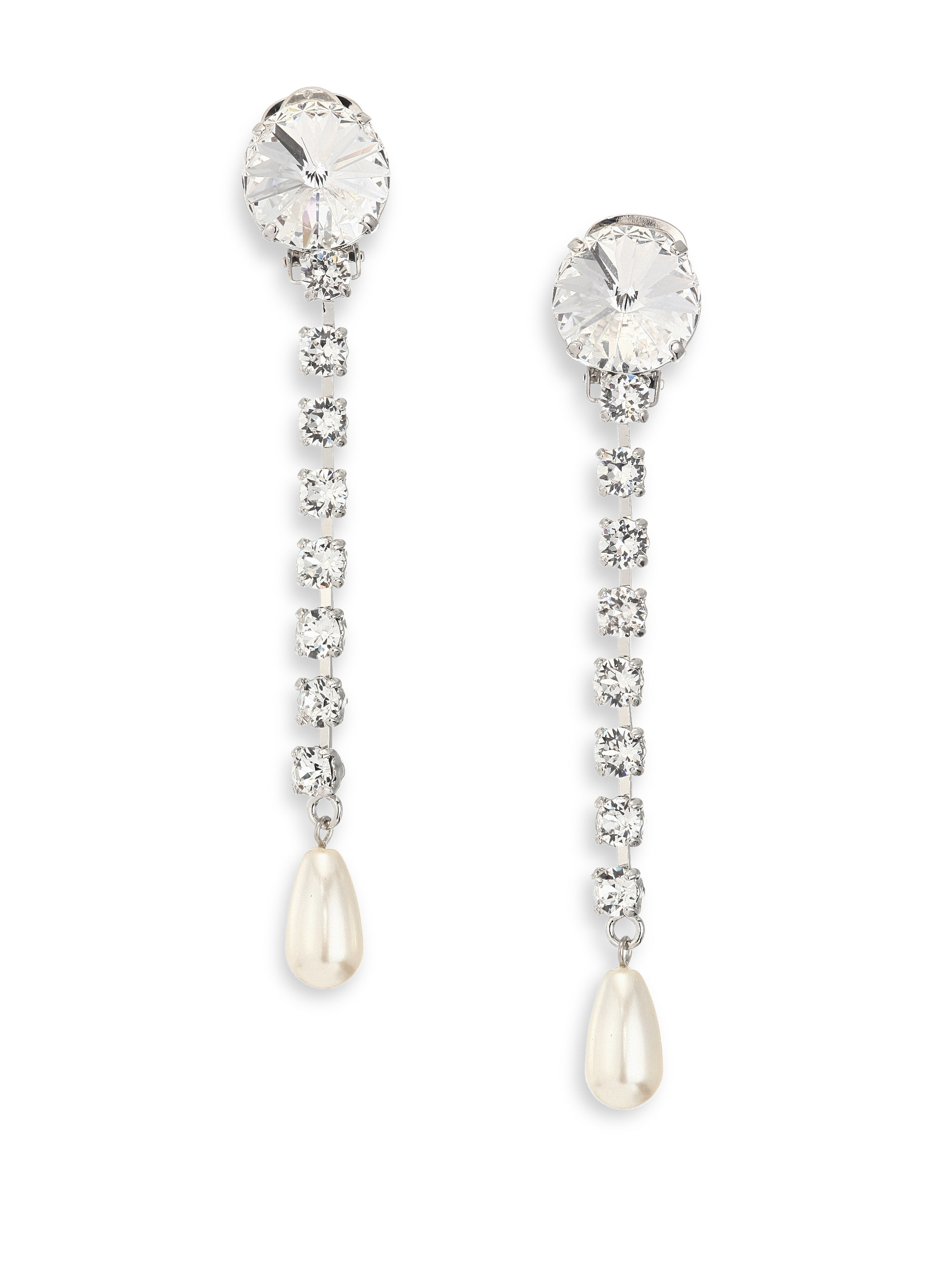 Crystal and pearl drop earrings Miu Miu Prw8qe