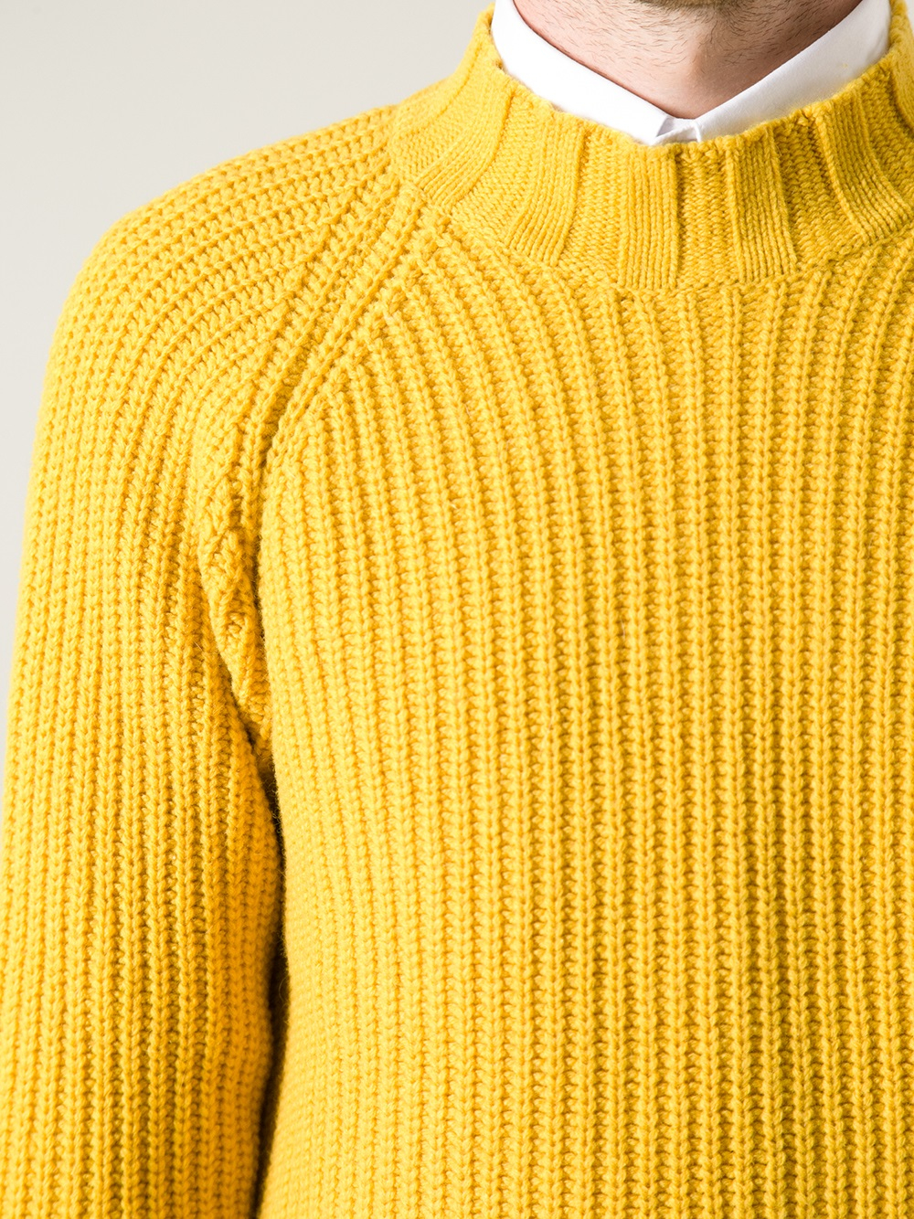 Knitting Journal App : Journal heavy space knit sweater in yellow for men