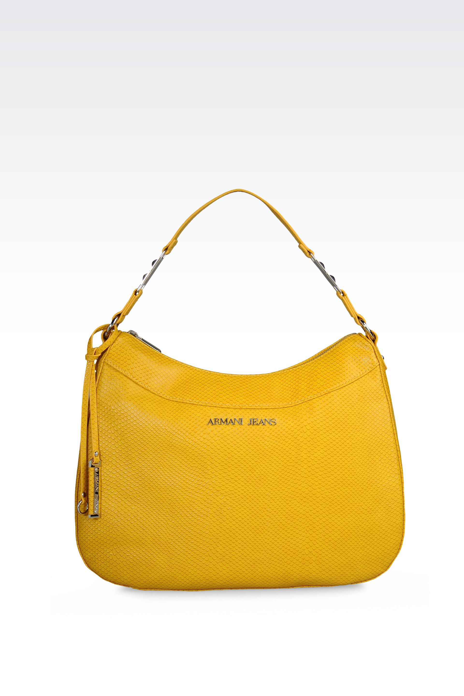 Armani jeans Hobo Bag in Reptileprint Faux Leather in Yellow | Lyst