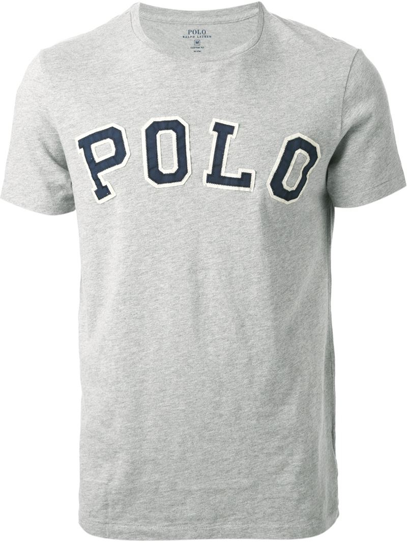 lyst polo ralph lauren logo appliqu t shirt in gray for men. Black Bedroom Furniture Sets. Home Design Ideas