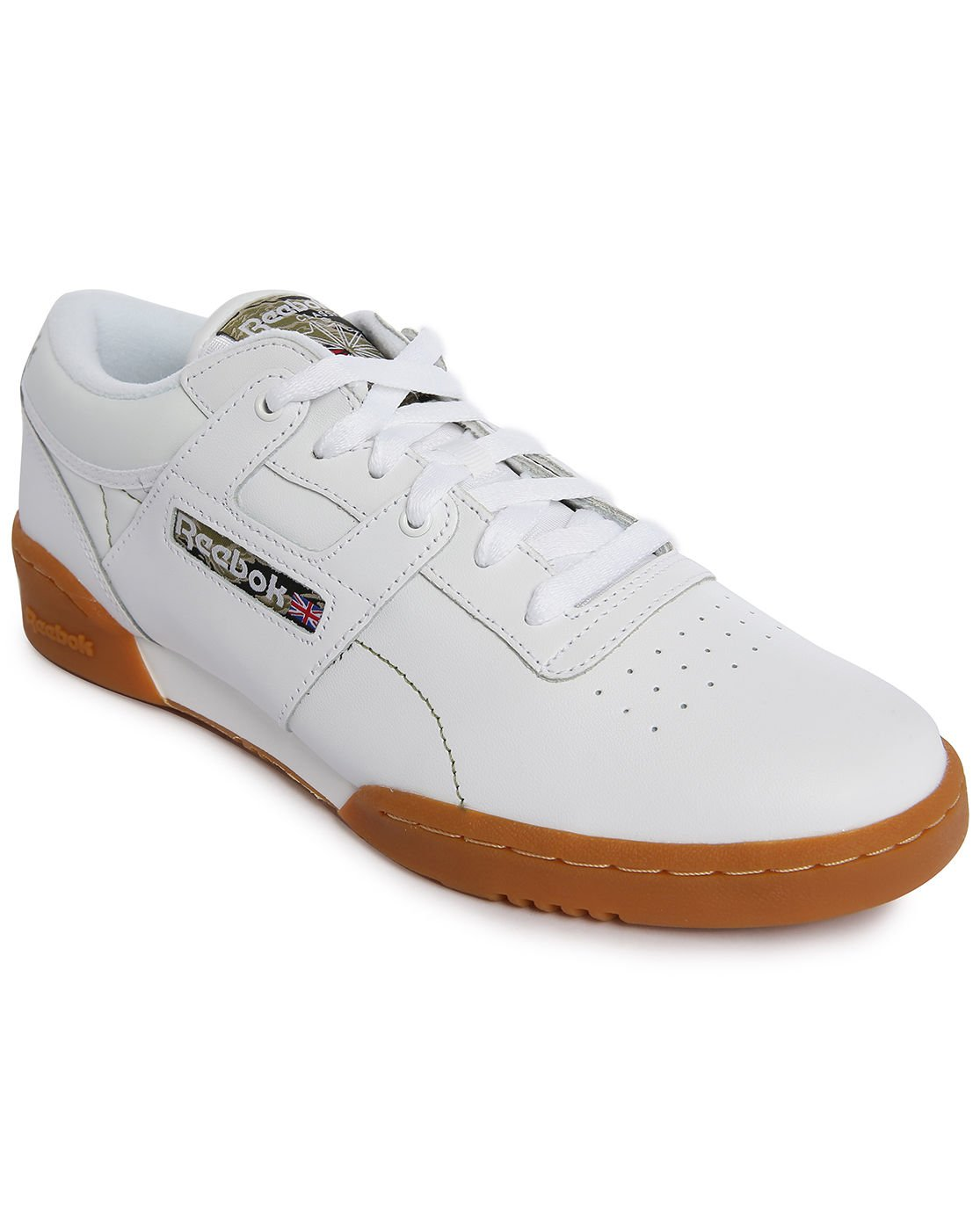 Reebok Workout Low White Leather Sneakers With Gumsole In ...