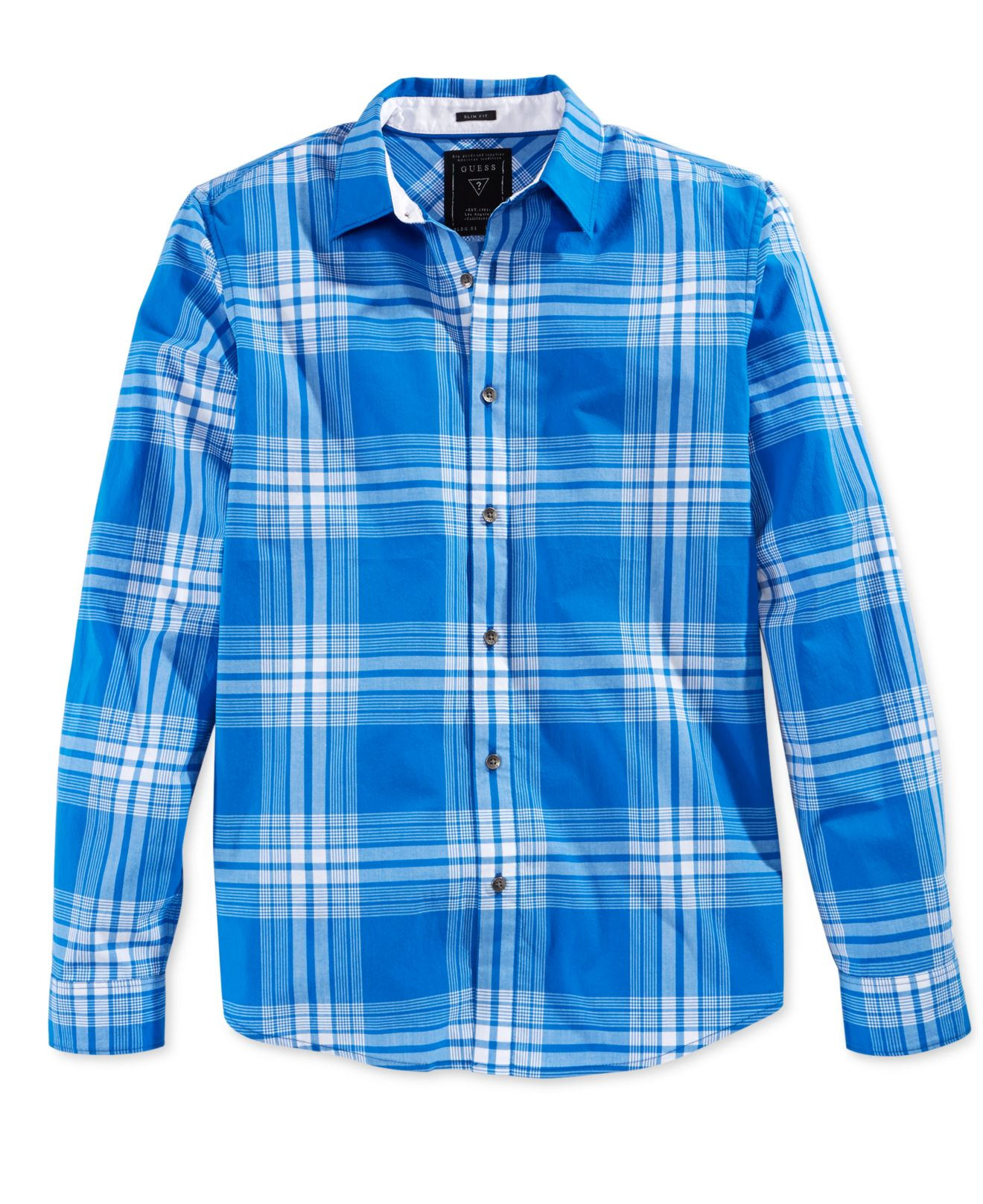 Calvin Klein Mens Cotton Long Sleeve Plaid Casual Shirt At