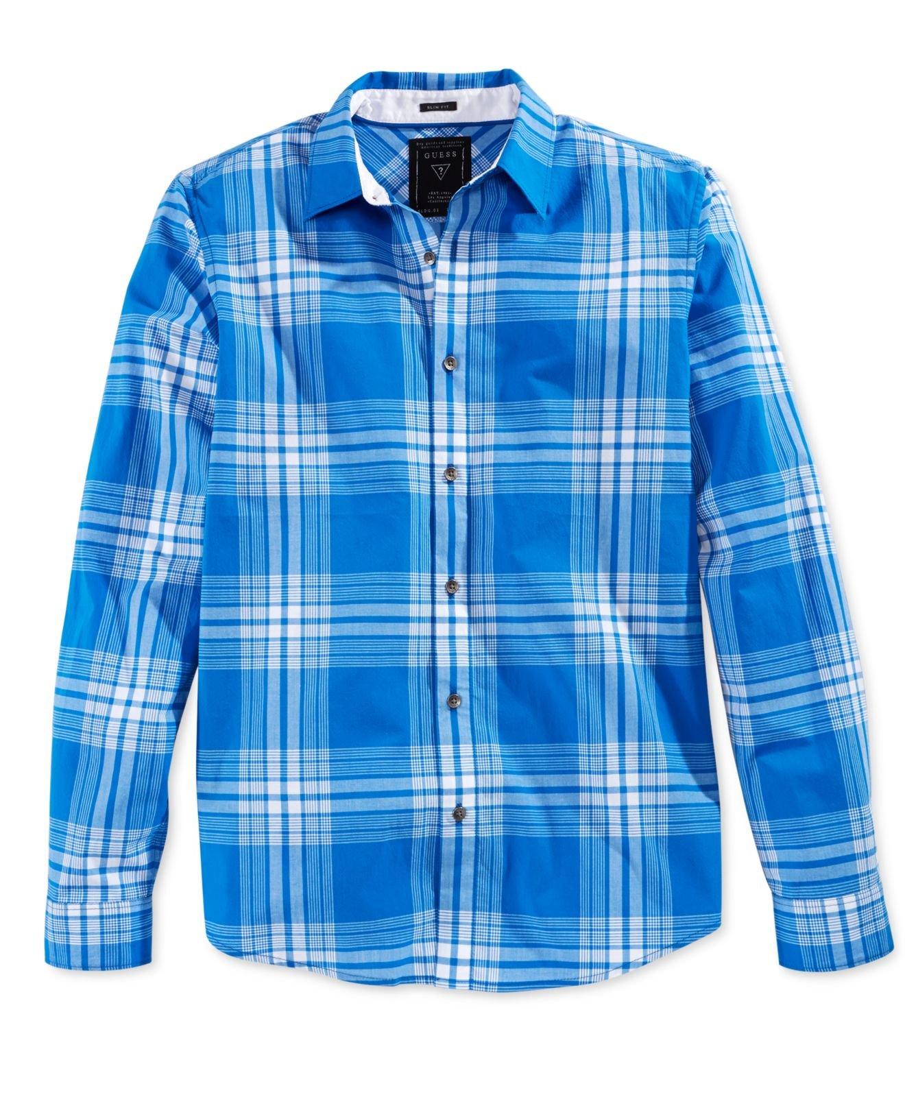 Calvin klein mens cotton long sleeve plaid casual shirt at for Mens plaid shirts long sleeve