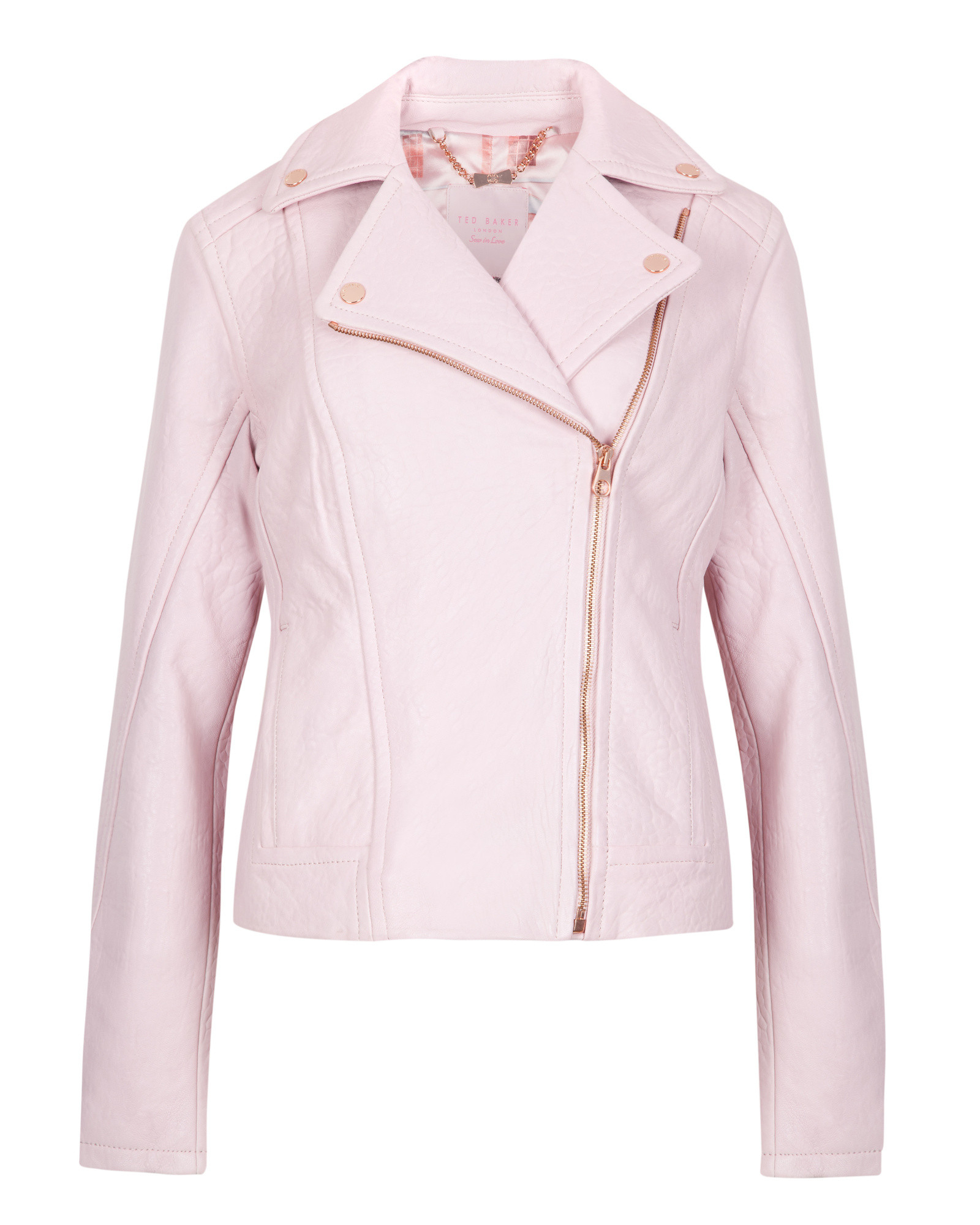 78914c46f Lyst Ted Baker Coty Leather Biker Jacket In Pink