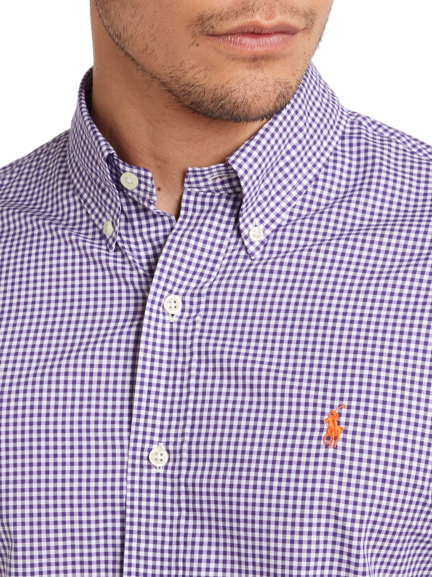 Polo ralph lauren long sleeve slim fit mini gingham shirt for Purple and white checked shirt