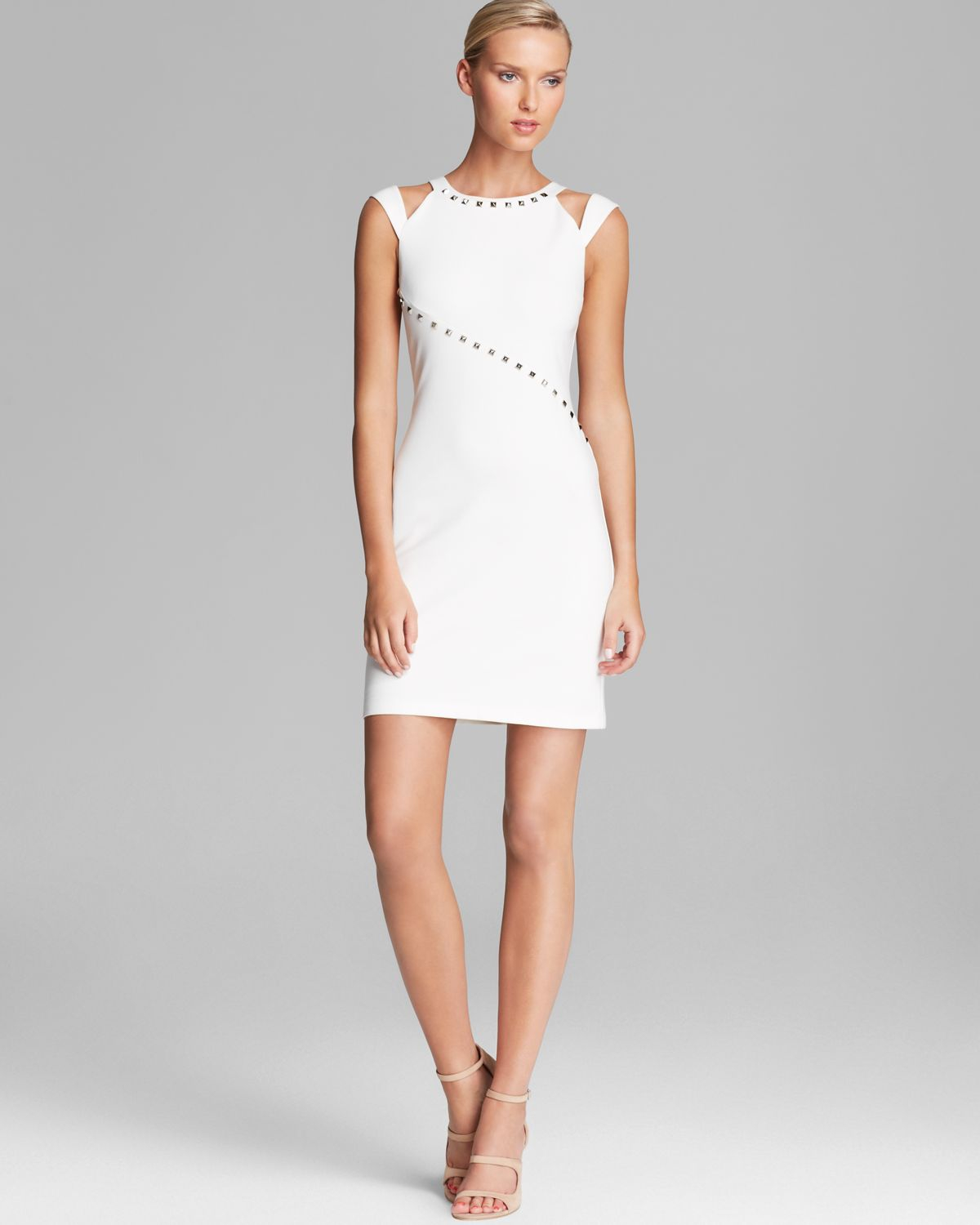 Abs by allen schwartz Dress Studded Cutout Ponte Sheath in White ...