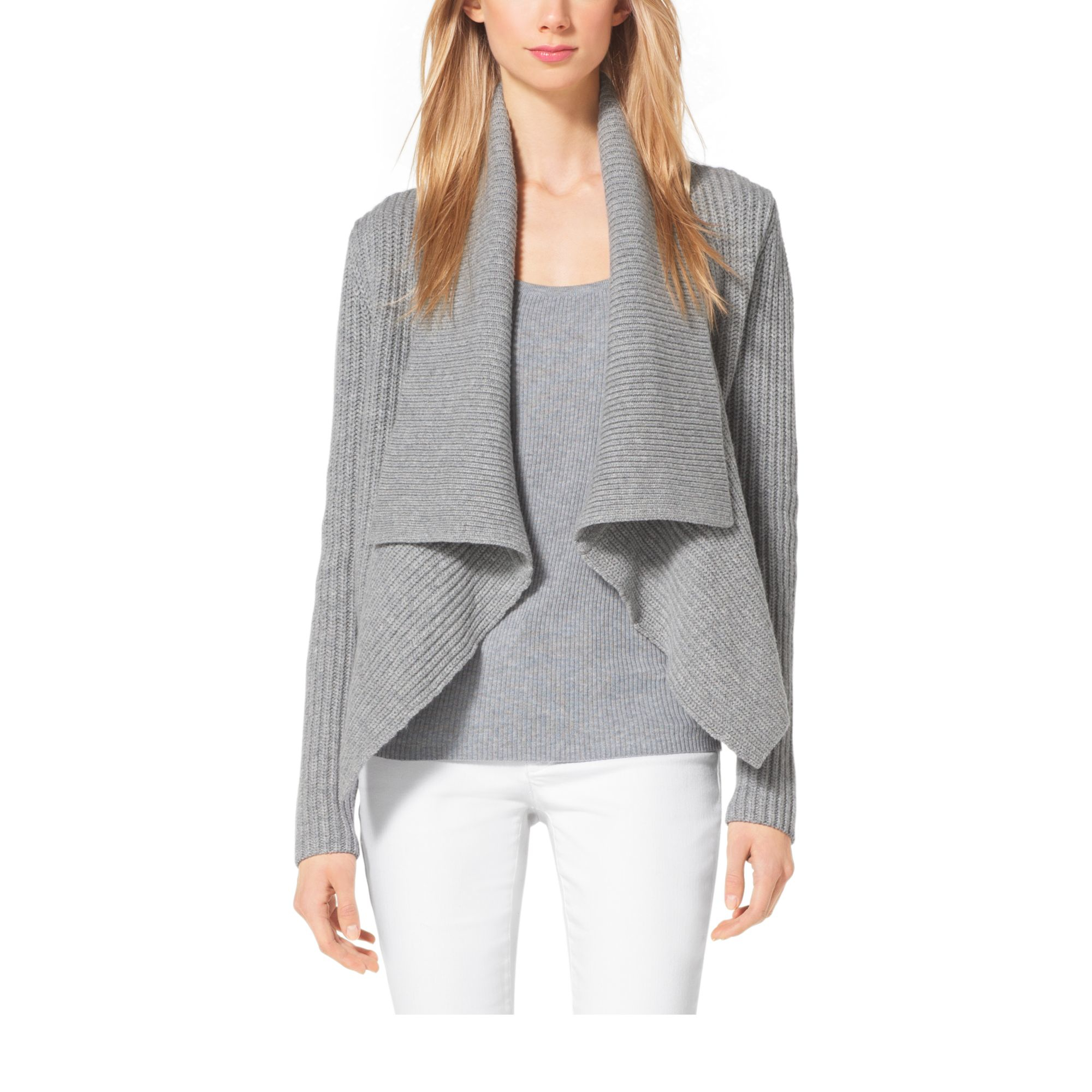 Michael kors Draped Shaker-stitch Wool And Cashmere Cardigan in ...