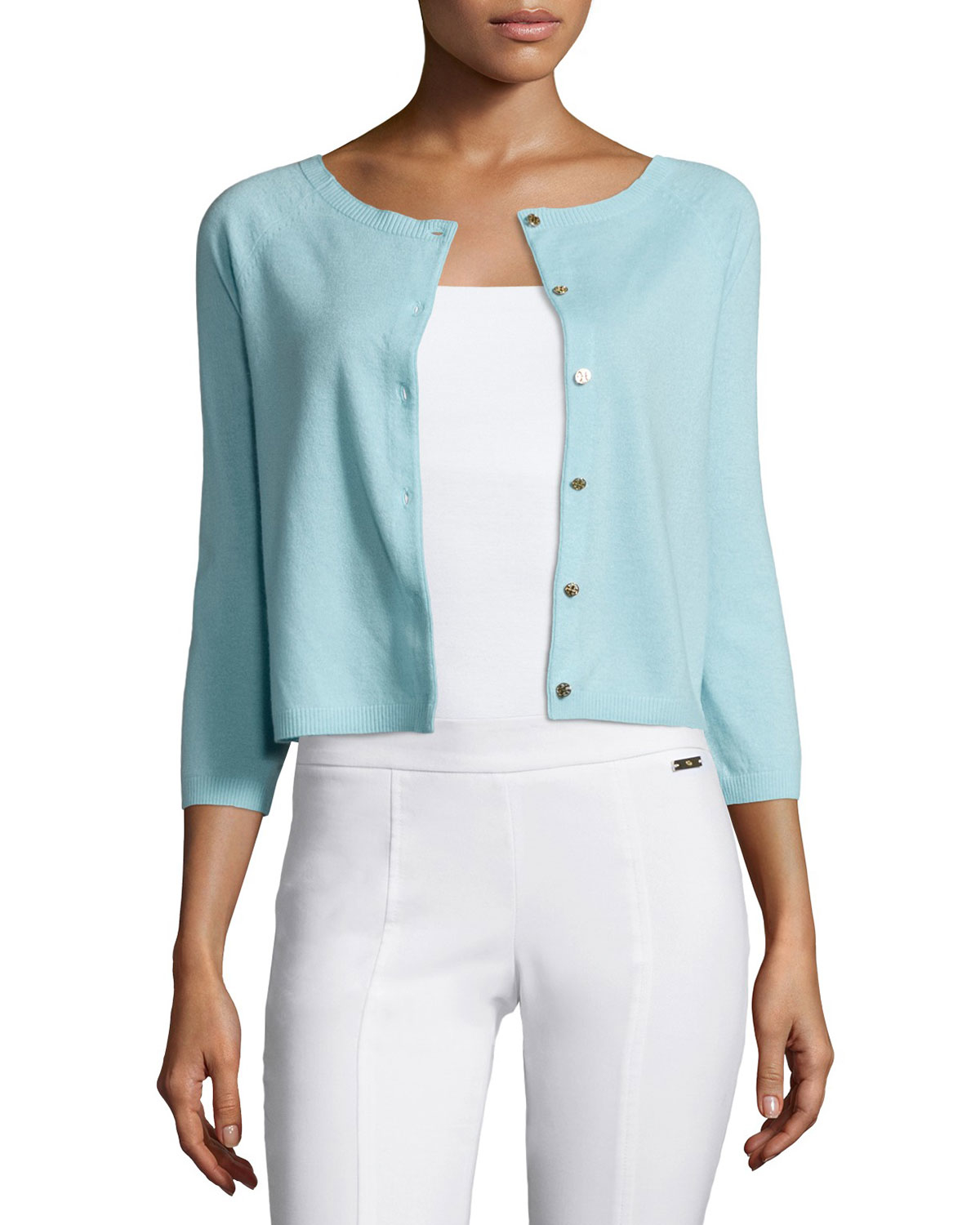 Tory burch Rosemary Cashmere Cardigan in Blue | Lyst