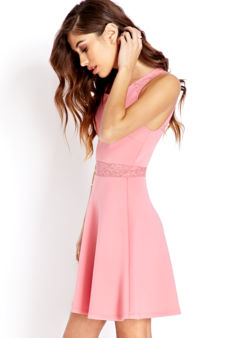 Forever 21 Garden Party Skater Dress in Pink   Lyst