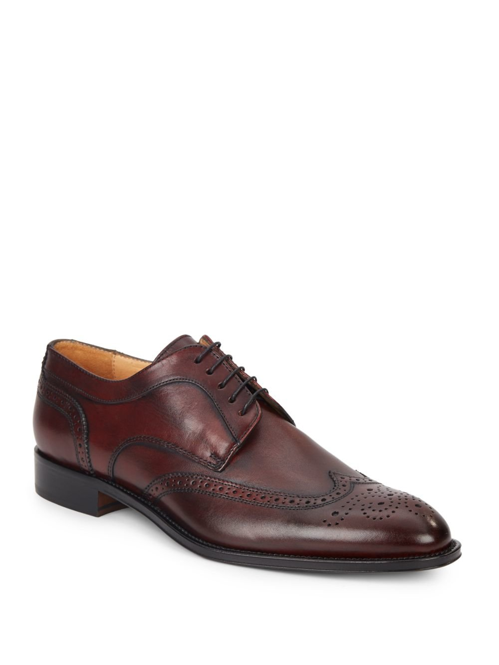 saks fifth avenue leather wingtip shoes in purple for