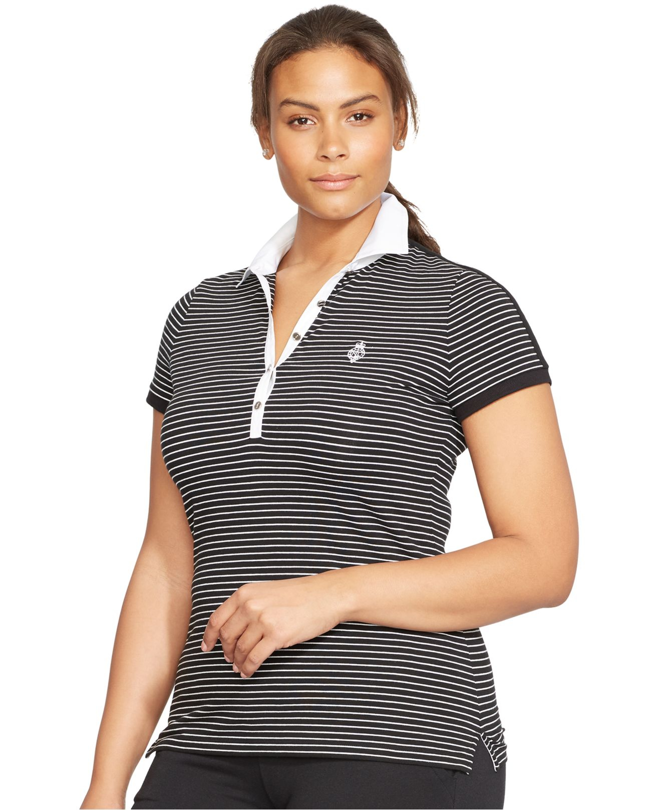 Lyst lauren by ralph lauren plus size striped polo shirt for Plus size golf polo shirts