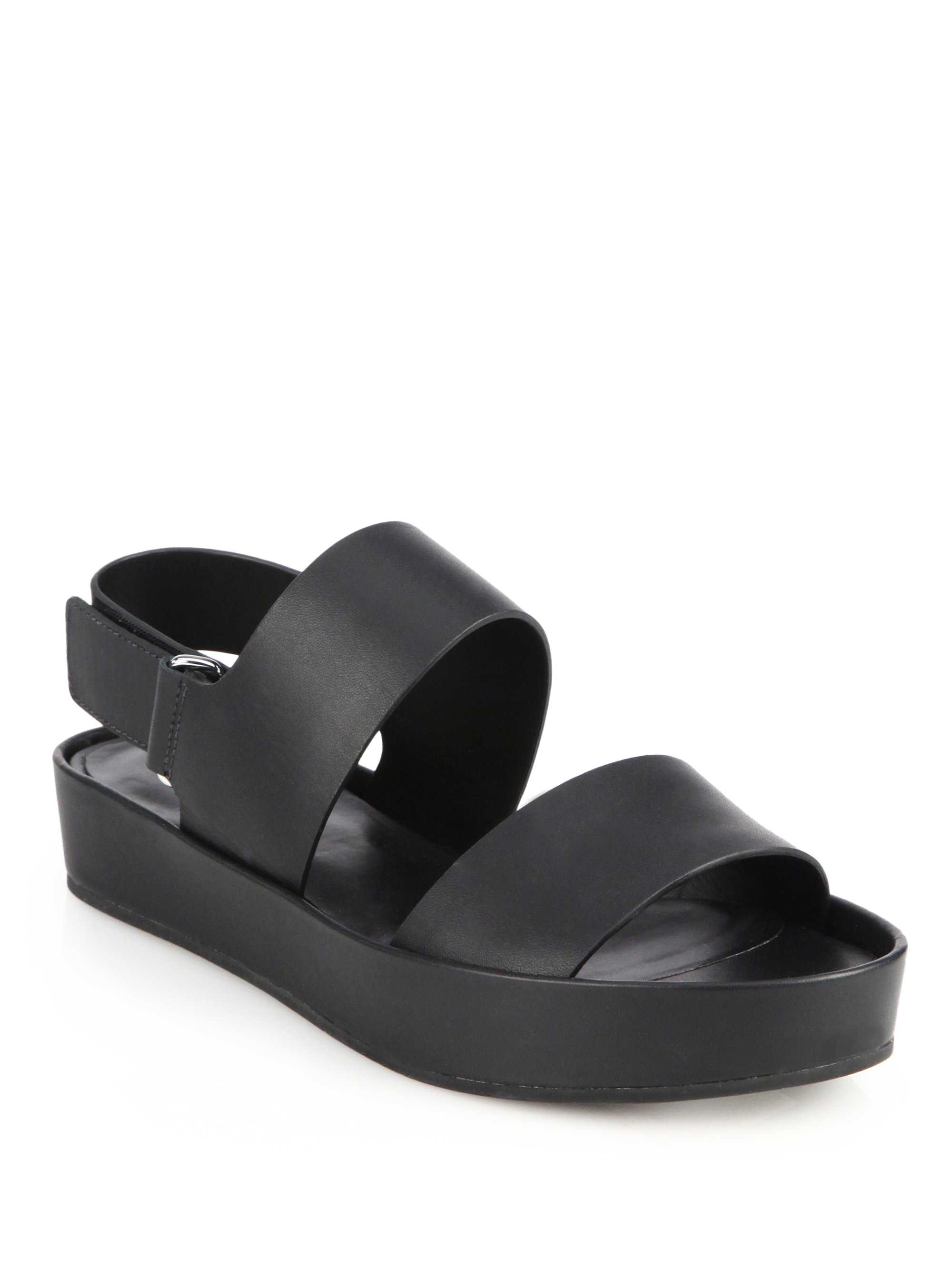 Lyst Vince Marett Double Strap Leather Sandals In Black