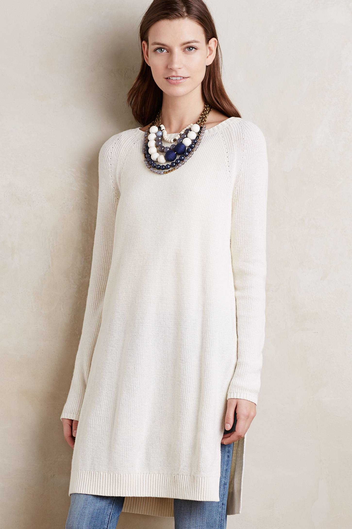 Moth Split Sweater Tunic in White | Lyst