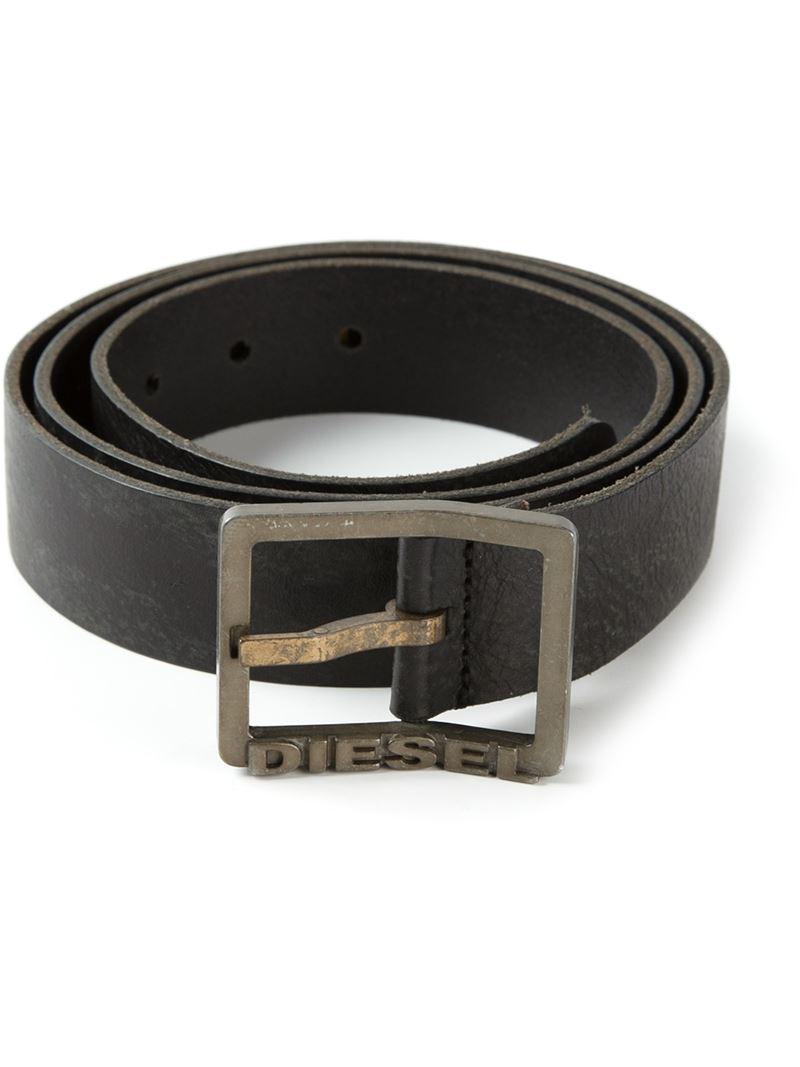 lyst diesel logo buckle belt in black for men