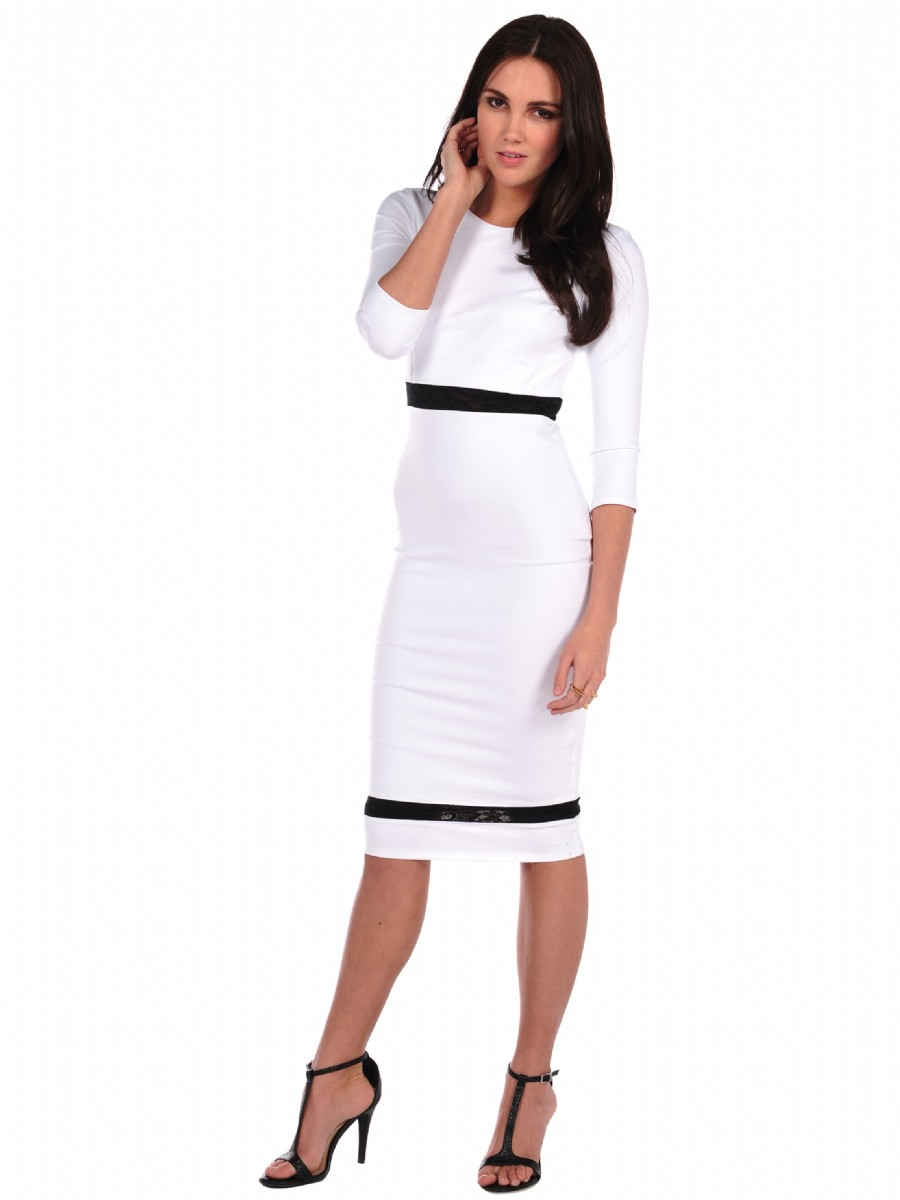mid length white lace dress donna mizani mid length lace inset dress in white lyst 3200