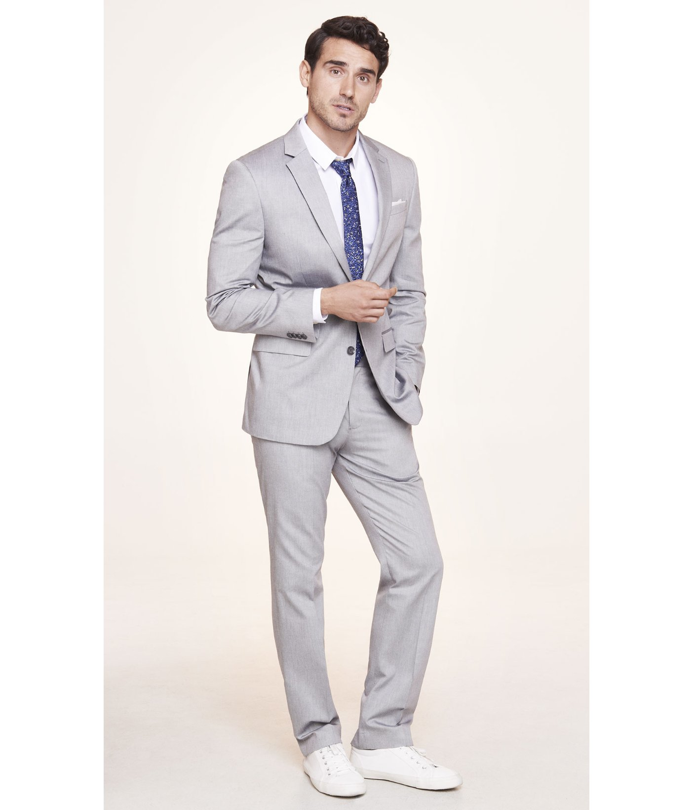 Express Light Gray Oxford Cloth Producer Suit Jacket in Gray for