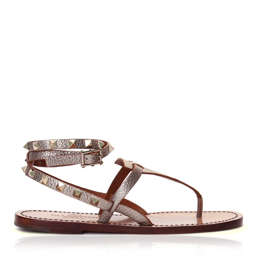 a0557af4e8be Lyst - Valentino Wraparound Rockstud Leather Sandals in Metallic