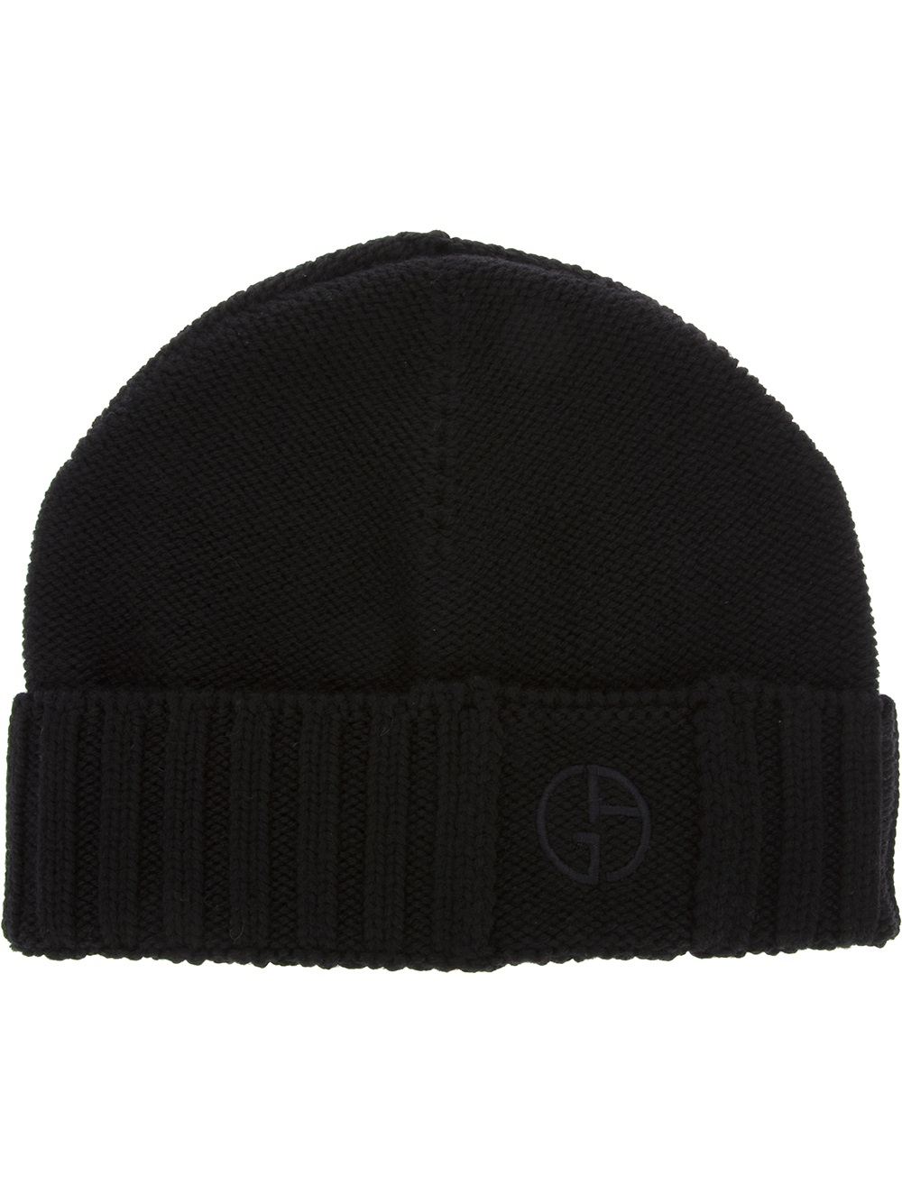 Lyst - Giorgio Armani Ribbed Wool Beanie Hat in Black for Men 79297e9d632