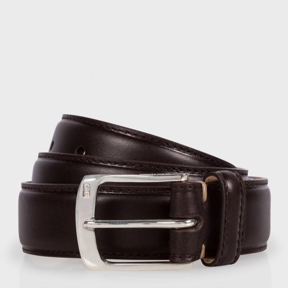 paul smith brown leather suit belt with silver plated