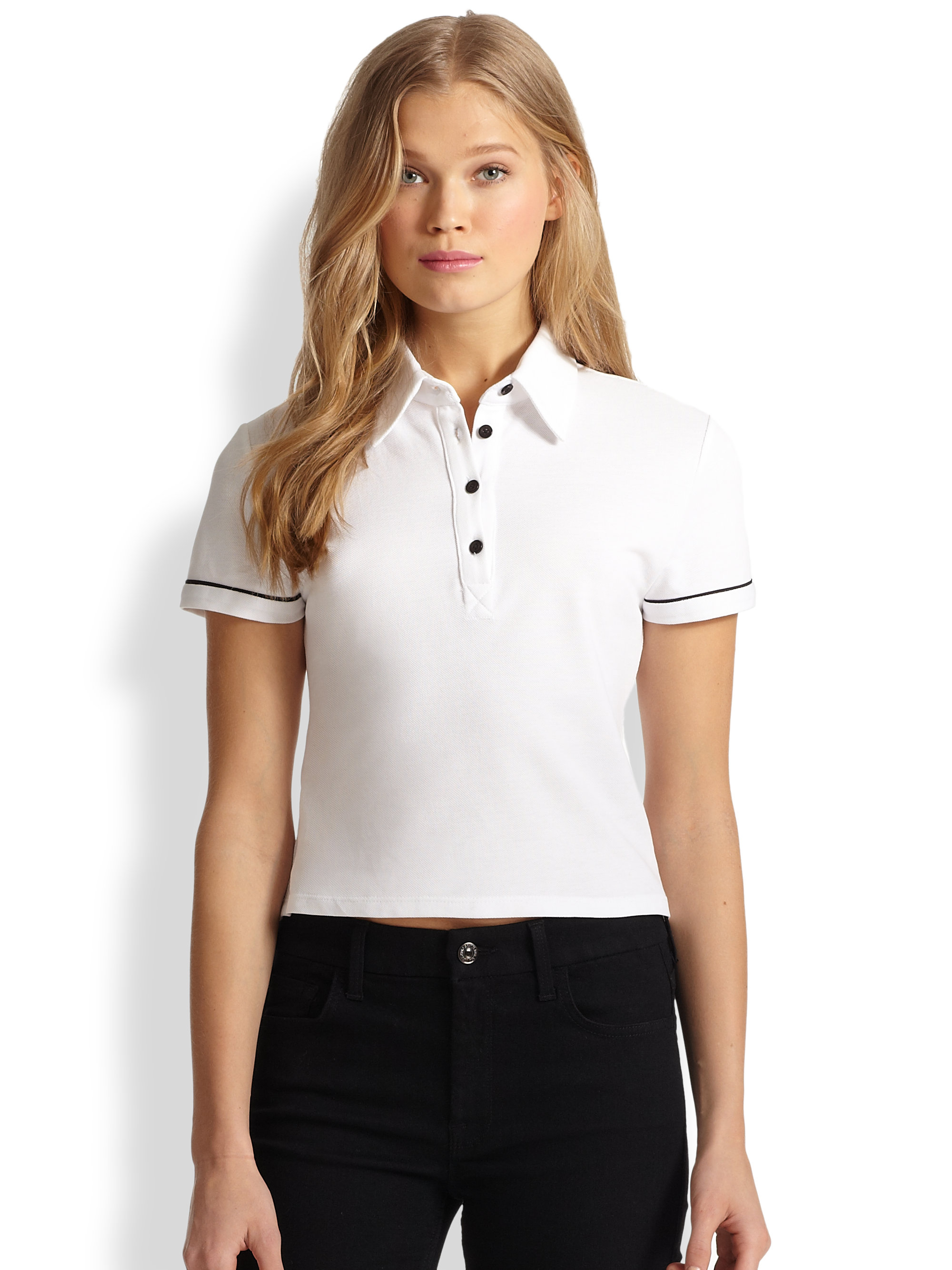 Lyst - Alice   olivia Miller Cropped Cotton Polo Shirt in White
