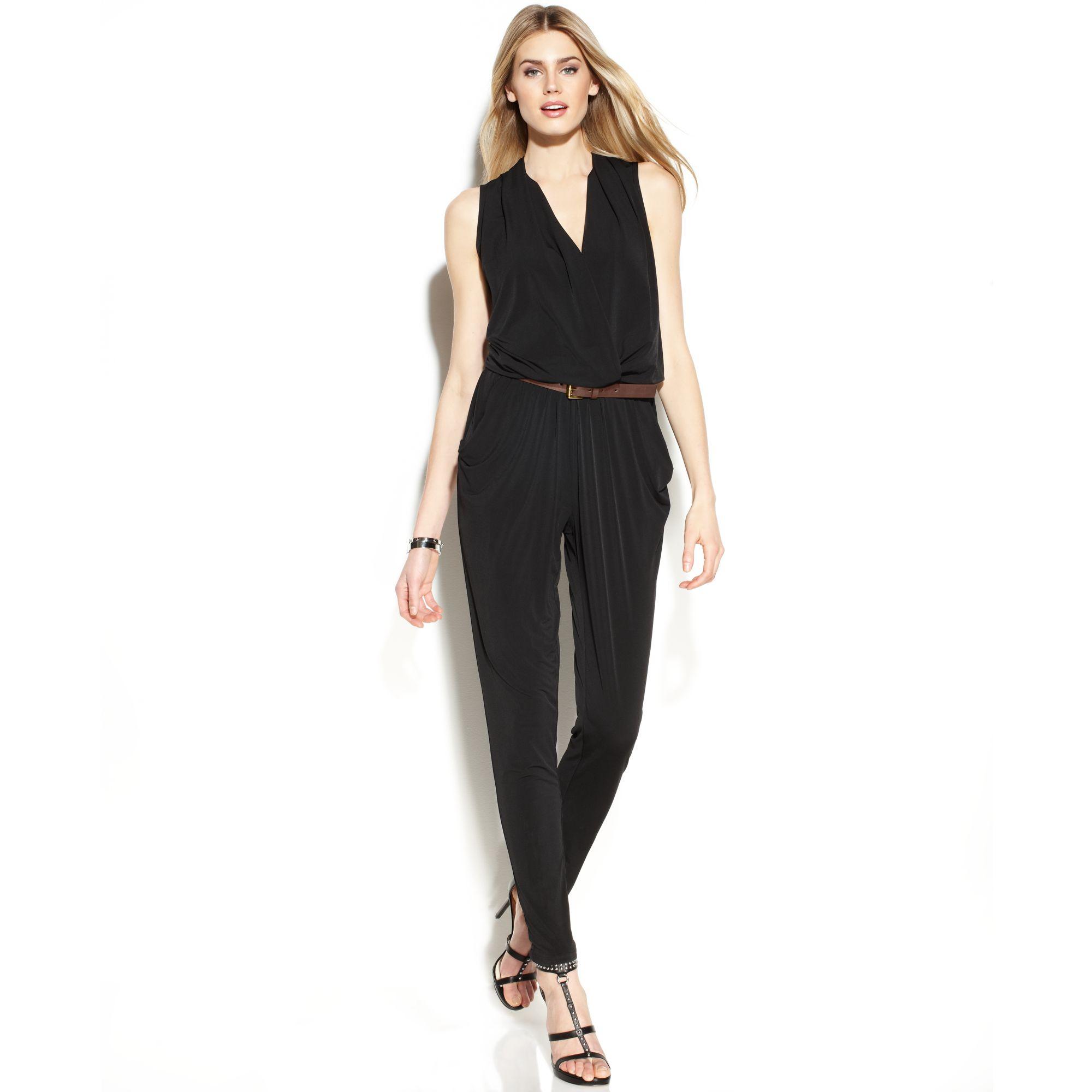 d144b0e2493e Lyst - Michael Kors Michael Sleeveless Belted Jumpsuit in Black