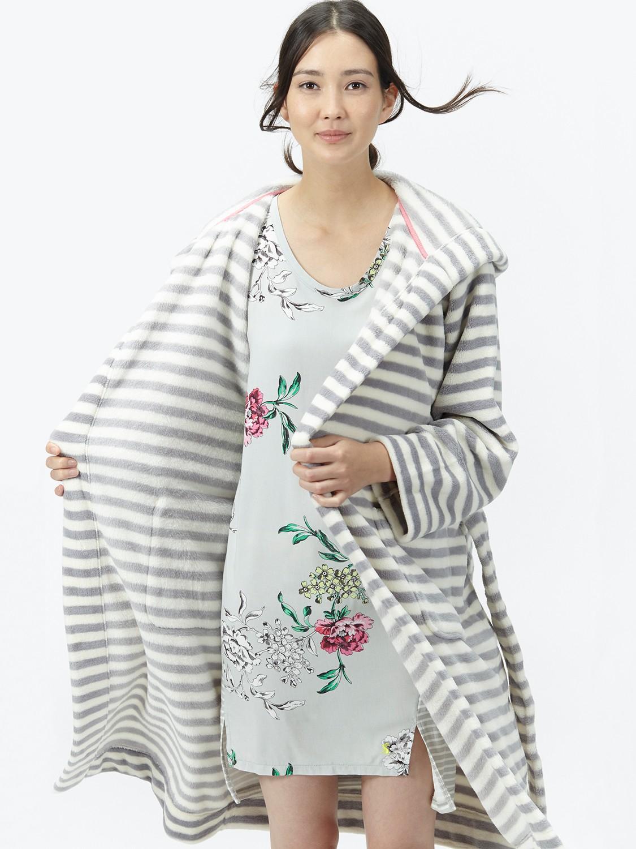 Joules Rita Stripe Robe in Gray - Lyst