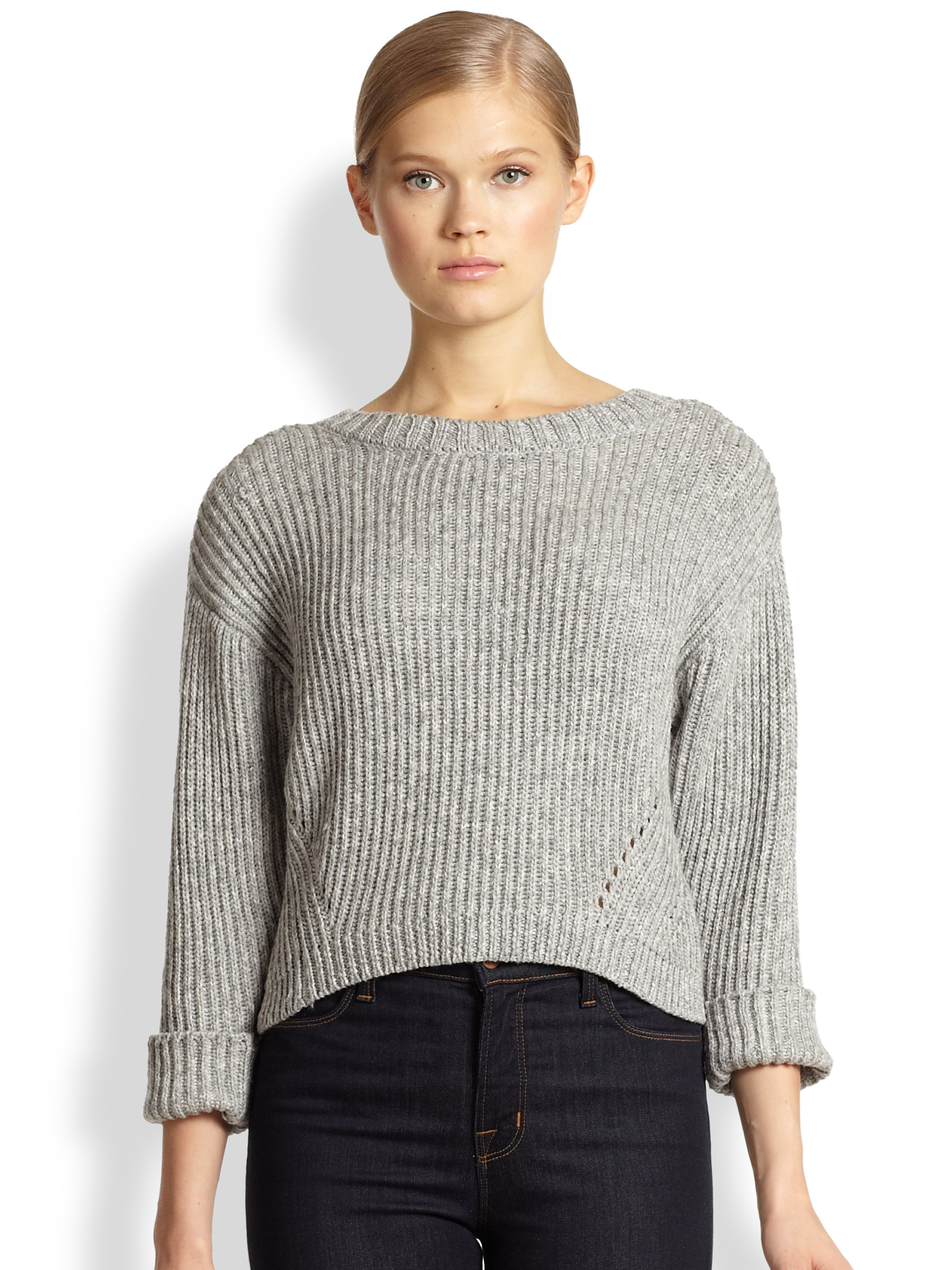 Rebecca minkoff Giles Slouchy Cropped Ribbed Sweater in Gray | Lyst