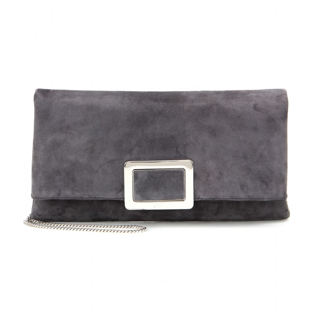 b3c89a3484 Lyst - Roger Vivier Ines Small Suede Clutch in Gray