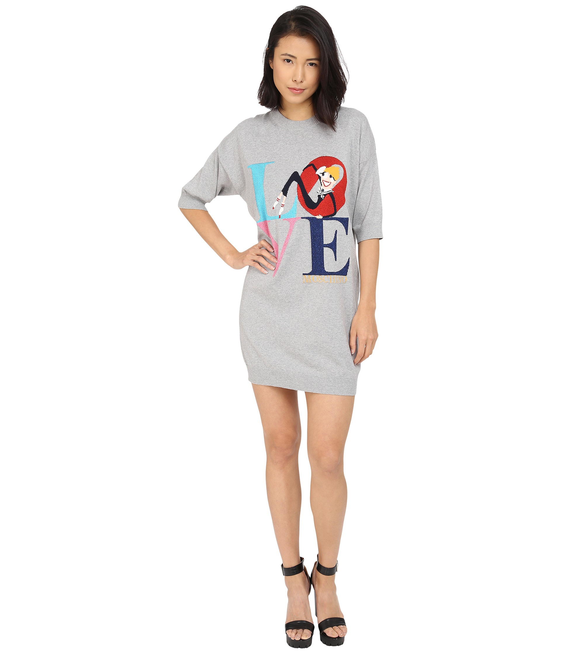 eb8006a1eea Lyst - Love Moschino Love Graphic 1 2 Sleeve Sweater Dress in Gray