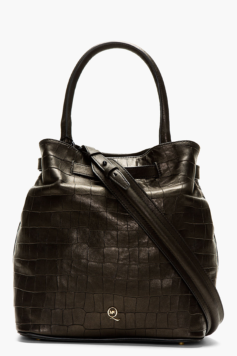 Mcq Black Leather Croc Embossed Shoulder Bag In Black Lyst