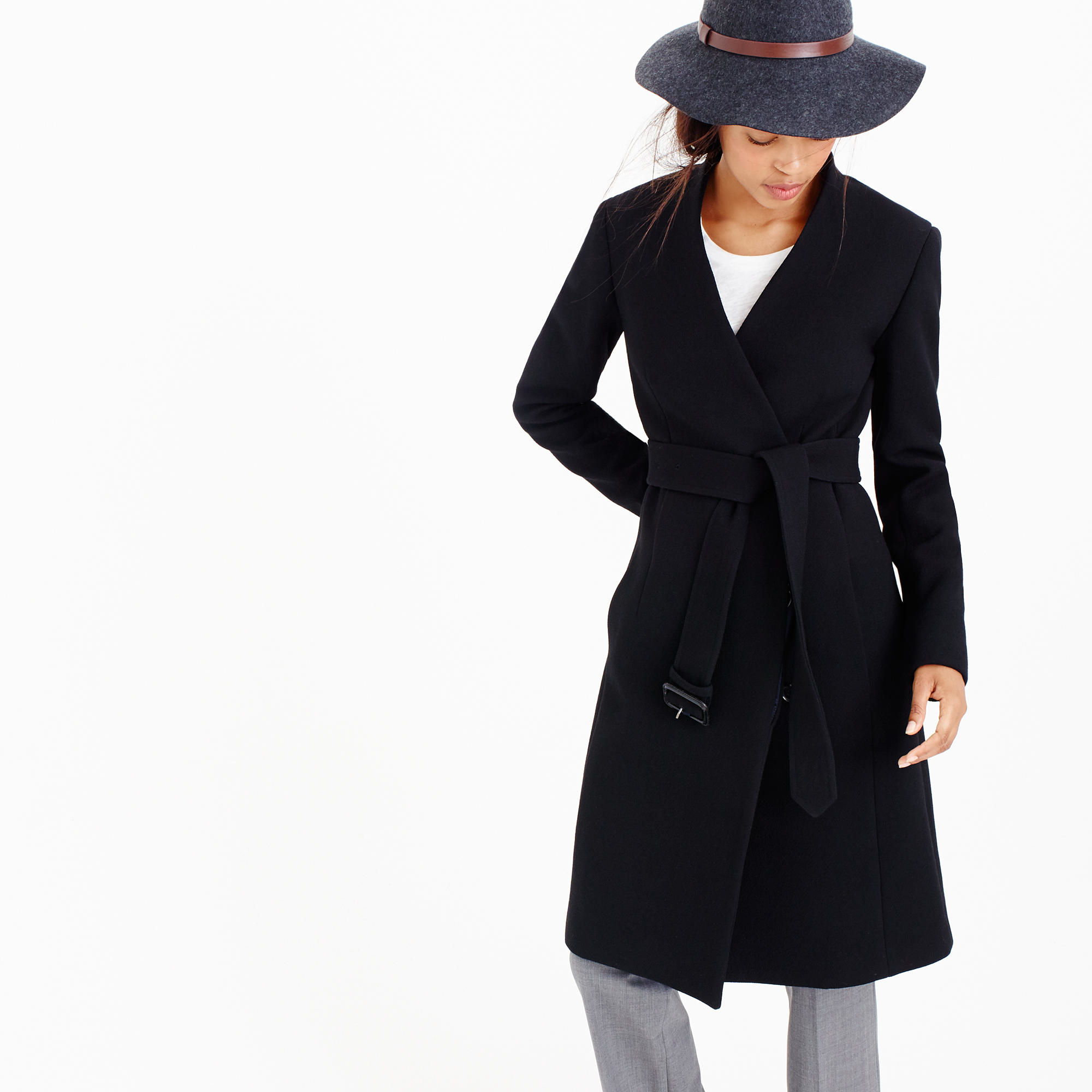 J.crew Collection Collarless V-neck Wrap Coat in Black | Lyst