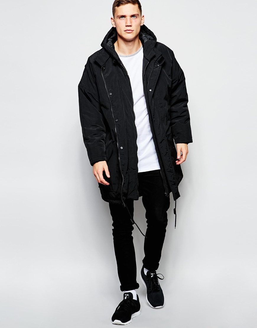 Asos Oversized Parka Jacket In Black in Black for Men | Lyst
