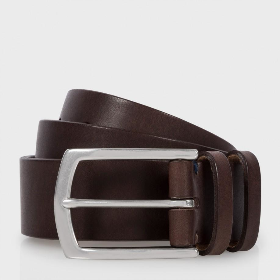 paul smith s brown leather keeper belt in brown