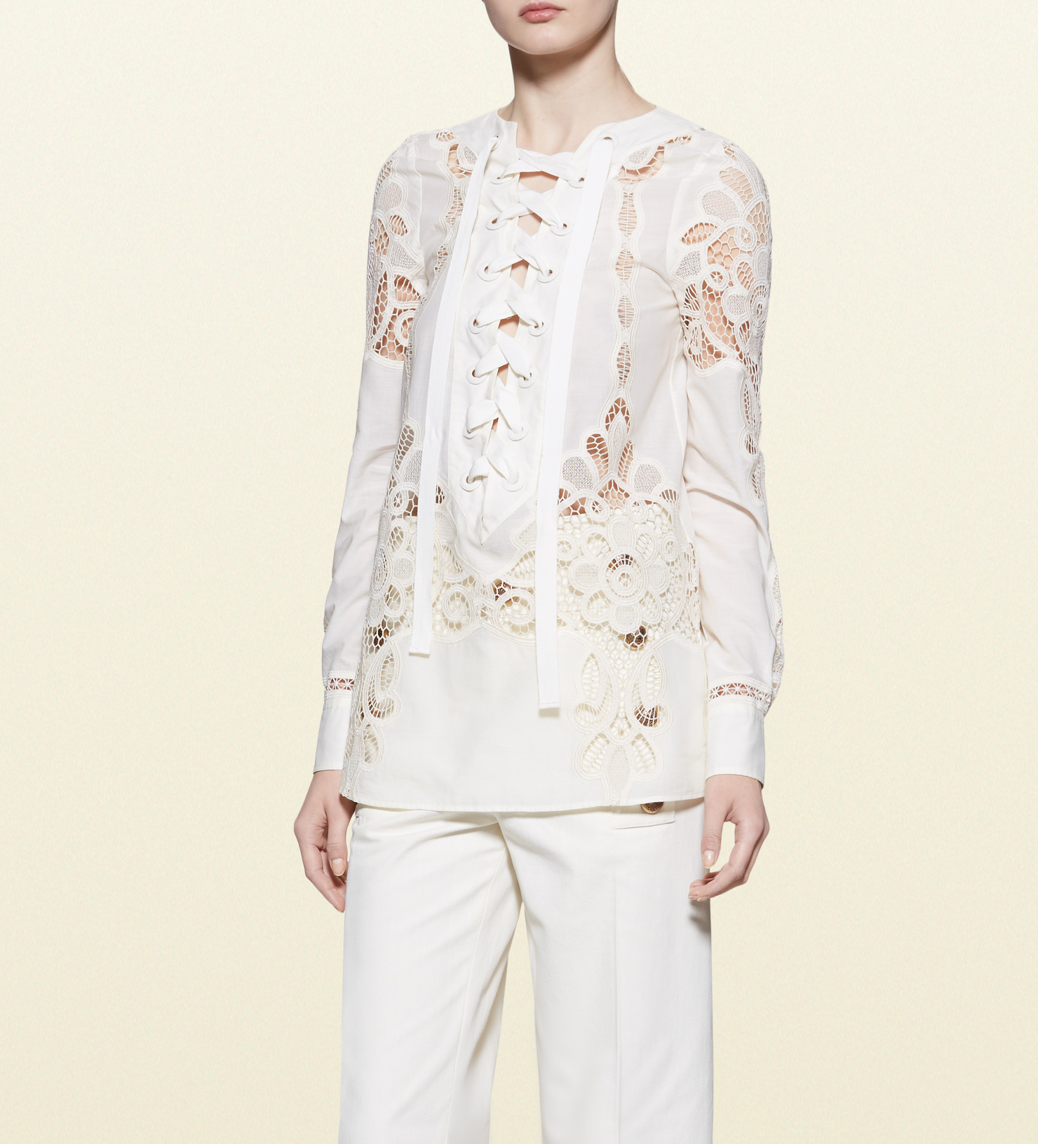 Lyst Gucci Broderie Anglaise Cotton Muslin Lace Up Shirt