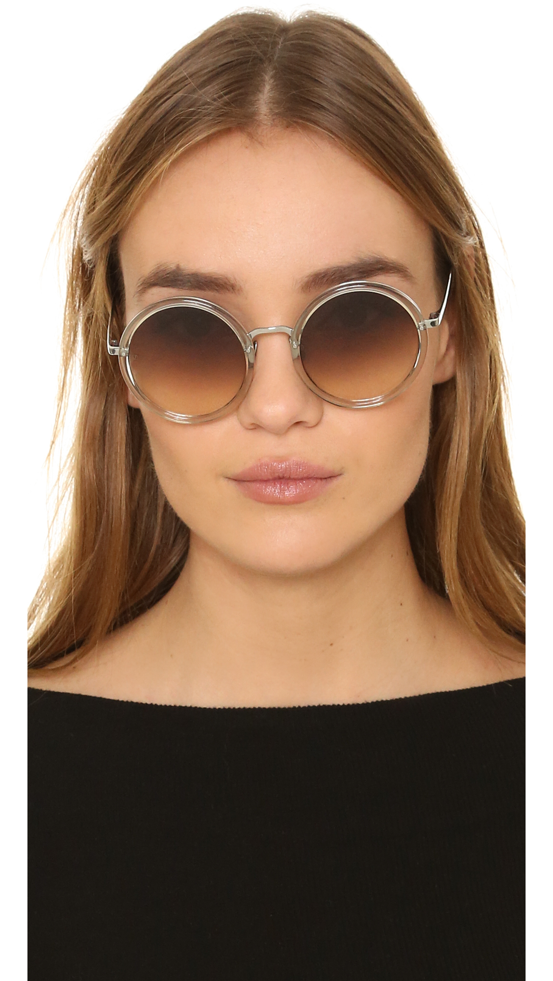852fd86d9fb4 Lyst - Linda Farrow Round Sunglasses in Brown