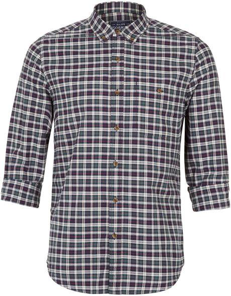 Topman green and navy tartan long sleeve flannel shirt in for Blue and green tartan shirt