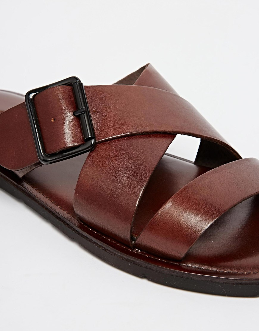 e1a6f8aaf Lyst - ALDO Sangha Leather Buckle Sandals in Brown for Men