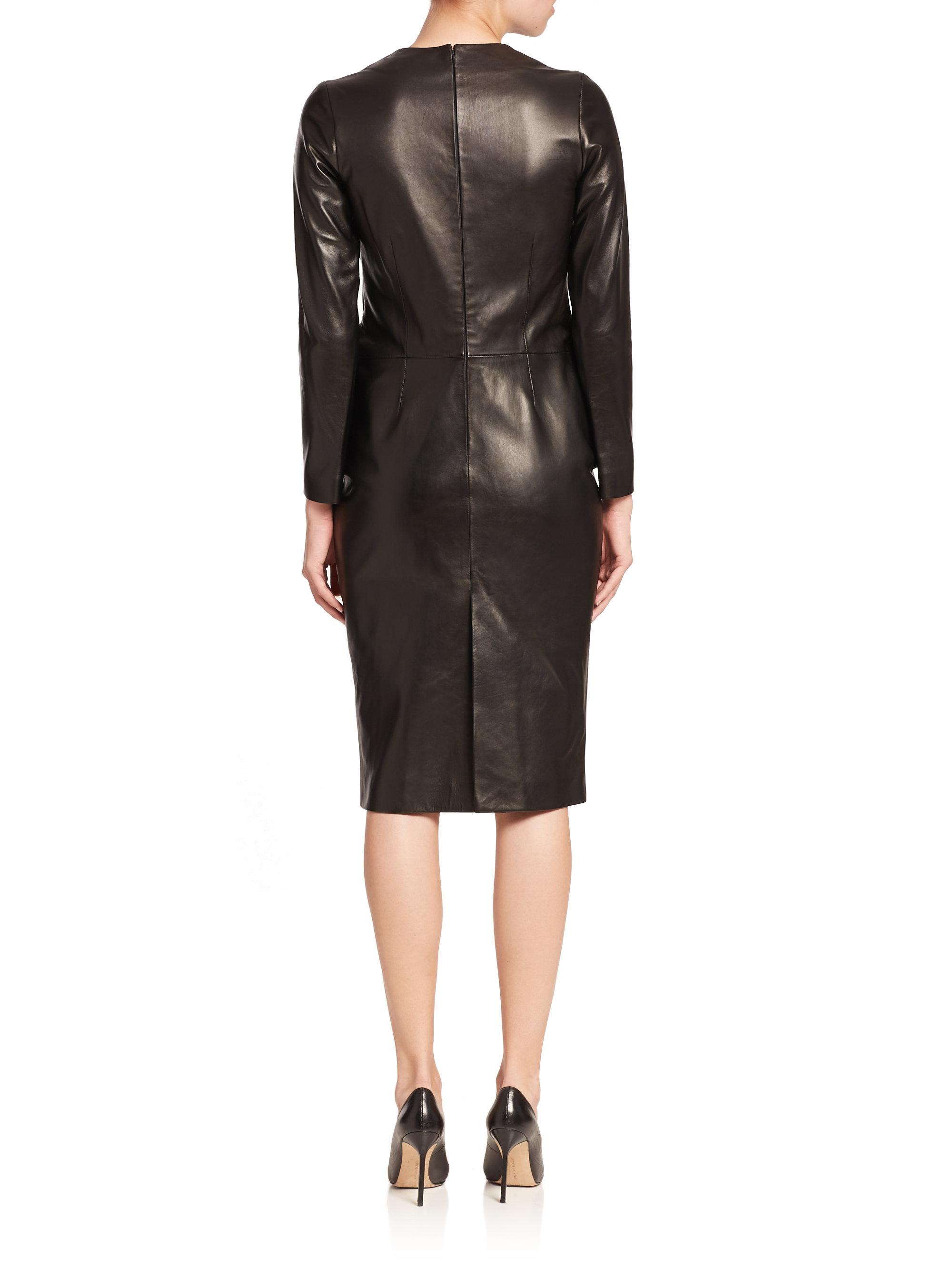 0bbc33e14d0cc La Prestic Ouiston Parfaite Long-sleeve Leather Dress in Black - Lyst