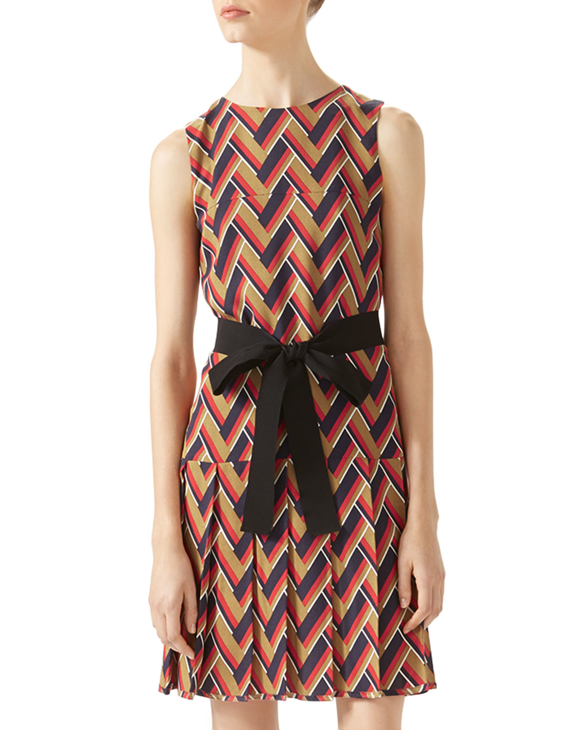 ff63a6084 Gucci Printed Silk and Wool-Blend Dress in Natural - Lyst