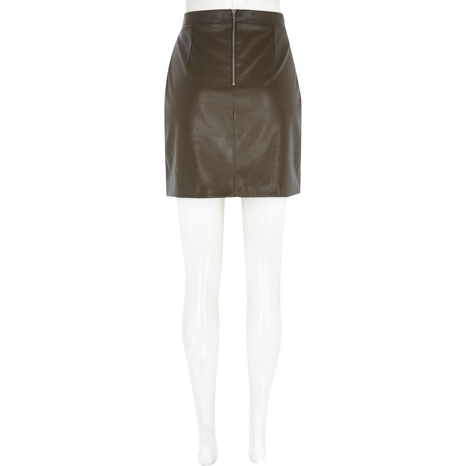 River island Khaki Leather-Look Mini Skirt in Natural | Lyst