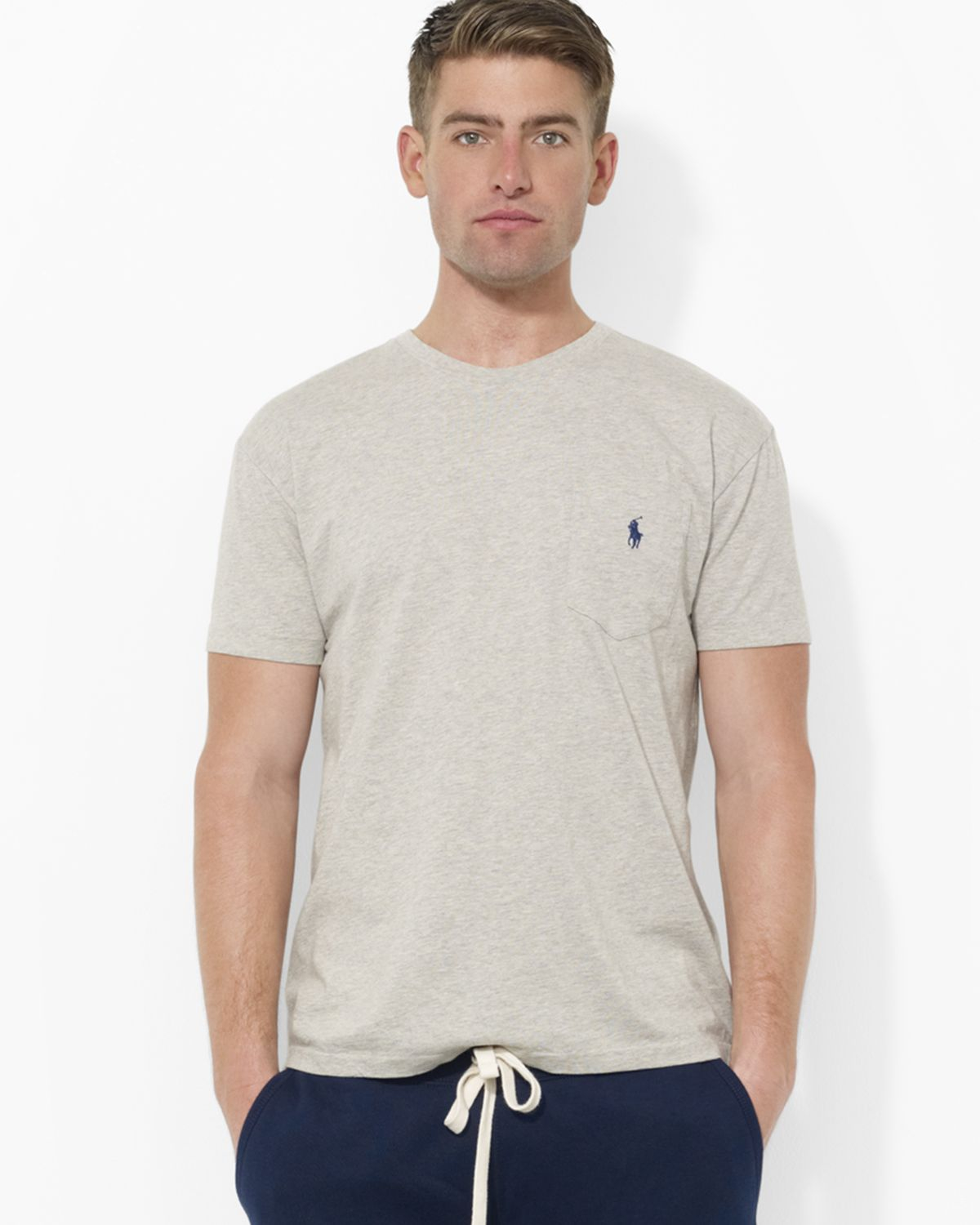 a6abaf795 ... neck t shirt adf80 b7d8e  purchase lyst ralph lauren polo classic fit  short sleeved cotton pocket tee bc97a 39d6a