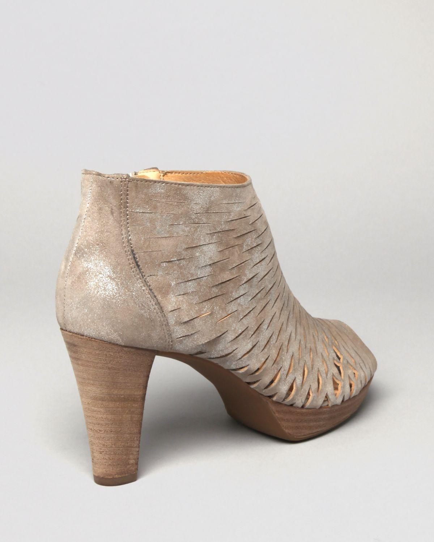 Paul Green Peep Toe Platform Booties Tacey Perforated High Heel In Silver Rosewood