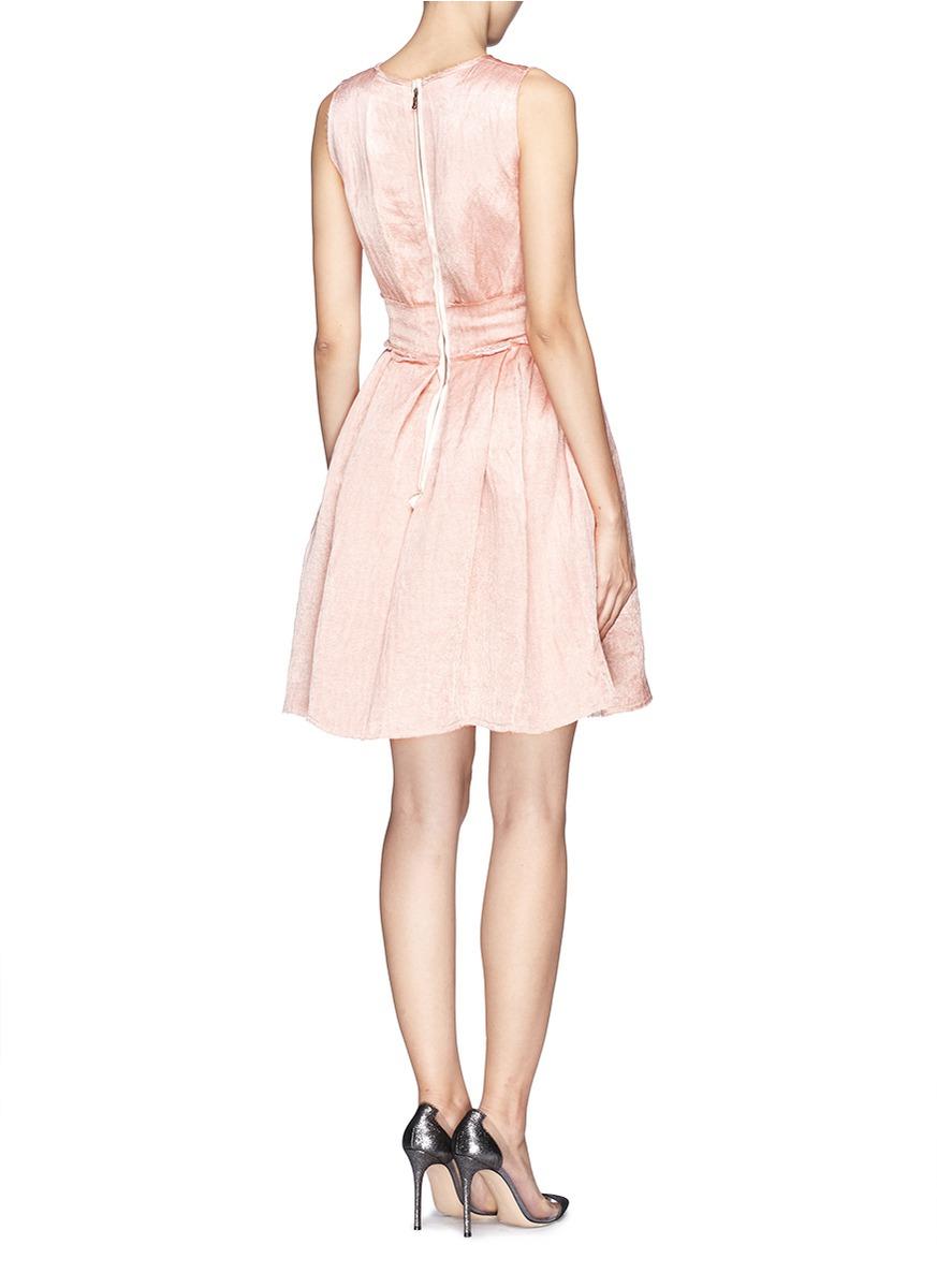 lanvin rosette belt textured linen dress in pink lyst