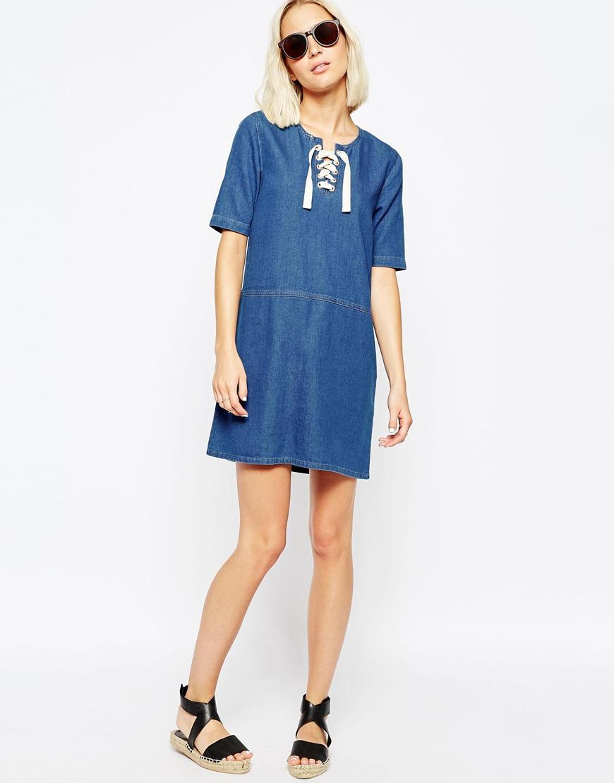 Perfect Buy KOOVS Halter Neck Denim Tunic Dress For Women - Womenu0026#39;s Blue/Multi/Green Tunic Dresses ...